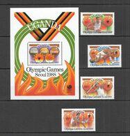 RR587 UGANDA OLYMPIC GAMES SEOUL 1988 #587-590 BL79 MICHEL MNH - Estate 1988: Seul