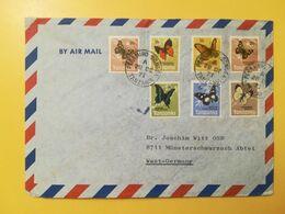 1973 BUSTA INTESTATA AIR MAIL TANZANIA BOLLI FARFALLE BUTTERFLIES ANNULLO OBLITERE' PERAMIHO - Tanzania (1964-...)