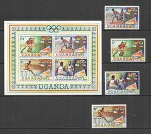 RR590 1980 UGANDA SPORT OLYMPIC GAMES MOSCOW 1980 #278-281 SET+KB MNH - Estate 1980: Mosca
