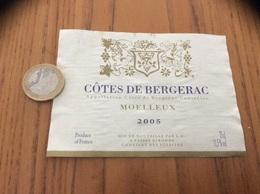 Etiquette Vin 2005 « CÔTES DE BERGERAC - MOELLEUX - LG - GIRONDE (33)» - Bergerac