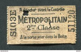 Ticket De Métro Parisien  Début XXe (1904) Pré-perforé 2e Cl - Métropolitain De Paris - RATP - Europe