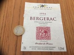 Etiquette Vin 1994 «BERGERAC - CLUB DES SOMMELIERS - JOSEPH DUVERNAY - BEAUCAIRE (30)» - Bergerac