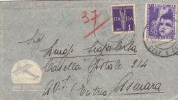 ITALIA REGNO- BUSTA  POSTA AEREA DA LUCCA PER ASMARA-ERITREA -1937-LETTERA ORIGINALE PRESENTE IN BUSTA- - 1900-44 Victor Emmanuel III