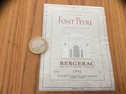 Etiquette Vin 1991 ** «BERGERAC - FONT PEYRE - SUD-OUEST MILLÉSIMES (46)» - Bergerac