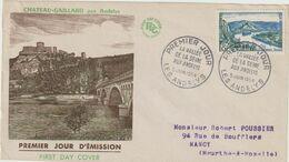 FDC FRANCE N° Yvert 977 (LES ANDELYS - CHATEAU GAILLARD) Obl Sp 1er Jour (Devant D'enveloppe) - 1950-1959