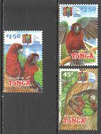 RR615 2002 KINGDOM OF TONGA FAUNA BIRDS PARROTS 10 YEARS NATIONAL PARK 3ST MNH - Pappagalli & Tropicali