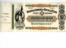 Action URUGUAY BANCO De LONDRES Y Rio De La Plata - MONTEVIDEO De 50 Pesos De 1872 - Banque & Assurance