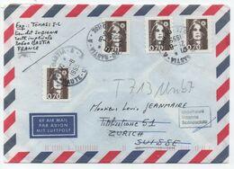 Marianne BRIAT 70c Brun AFFRANCHISSEMENT MIXTE Yvert 2824 Et 2873 / Lettre > SUISSE 1995 RAU BASTIA-A CORSE - 1989-96 Marianne Du Bicentenaire