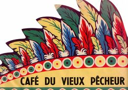 Rare Chapeau Indien Publicitaire Des Années 1950-1960 Café Du Vieux Pécheur - Caps