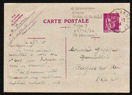 ENTIER POSTAL Type Paix 40c Obl En 1936 Sur Carte Postale: Cachet Convoyeur Ligne Morez à Anderlot Type 3 Le Plus RARE - Cartes/Enveloppes Réponse T