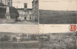 4 CPA:EURVILLE (52) POSTE ET MONUMENT AUX MORTS 1914-18,CITÉ OUVRIÈRE COTÉ OUEST,VUE - France