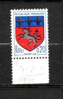 FRANCE N° 1510 0.20C MULTICOLORE BLASON DE ST LO SIGNATURE AMPUTEE ET LICORE NOIRE NEUF SANS CHARNIERE - Curiosità: 1960-69  Nuovi