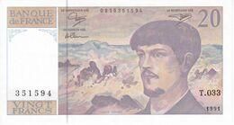 BILLETE DE FRANCIA DE 20 FRANCS DEL AÑO 1991 SERIE T.033  (BANKNOTE) CLAUDE DEBUSSY - 1962-1997 ''Francs''