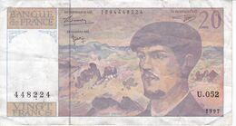 BILLETE DE FRANCIA DE 20 FRANCS DEL AÑO 1997 SERIE U.052   (BANKNOTE) CLAUDE DEBUSSY - 1962-1997 ''Francs''
