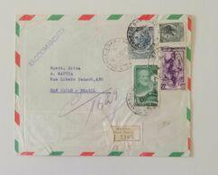 Busta Di Lettera Raccomandata Per Via Aerea Da Milano Per San Paolo (Brasile) 1956 - 1946-60: Marcofilie