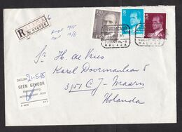 Spain: Registered Cover Malaga To Netherlands, 1985, 3 Stamps, King, Improvised R-label, Not At Home (traces Of Use) - 1931-Hoy: 2ª República - ... Juan Carlos I