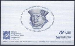Belgica 2001,Feuillet Tassis Maistre Des Postes, Offert Aux Visiteurs De L'exposition - Foglietti Bianchi & Neri