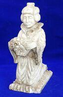 """Statue En Pierre Dure """" Japonaise A Genoux """" - Art Asiatique"""