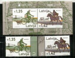 Lettonie/Latvia 2020 Europa CEPT:  Old Post Roads Bicycle & Horse, Série + Bloc-Feuillet Neufs ** - 2020