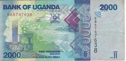 BILLETE DE UGANDA DE 2000 SHILLINGS DEL AÑO 2013 CON UN PEZ (FISH) (BANKNOTE) - Oeganda
