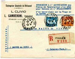 Lettre Recommandée D'Etables Sur Mer (Côtes Du Nord) Type Pasteur Et Semeuse Camée - Covers & Documents