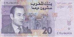 BILLETE DE MARRUECOS DE 20 DIRHAMS DEL AÑO 2005  (BANKNOTE) - Marruecos