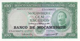 BILLETE DE MOZAMBIQUE DE 100 ESCUDOS DEL AÑO 1961 SIN CIRCULAR  (BANK NOTE) UNCIRCULATED - Mozambique
