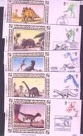 PREHISTORIC ANIMALS  - GB - 1991- DINOSAURS SET OF 5 SILK BENHAM COVERS - Prehistorics