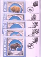 PREHISTORIC ANIMALS  - GB - 2006- ICE AGE ANIMALS SET OF 5 BENHAM COVERS - Prehistorics