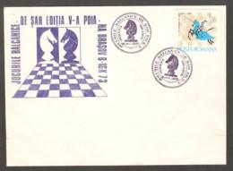 Romania 1973 Brasov - Chess VIOLET Cancel On VIOLET Commemorative Envelope - Scacchi