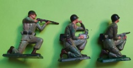 Lot 3 Figurines Soldat Jouet STARLUX - Plastique - ARMÉE DE TERRE - Tireur Radio - Bon état D'usage - Années 1960 - Starlux