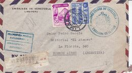 EMBAJADA DE VENEZUELA EN PERU. PEROU 1944, CIRCULEE LIMA A BUENOS AIRES, ARGENTINE. RECOMMANDE PAR AVION -LILHU - Peru
