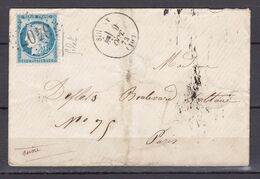 D200 / LOT CERES N° 60 SUR LETTRE / VARIETE FILET GAUCHE - 1871-1875 Cérès