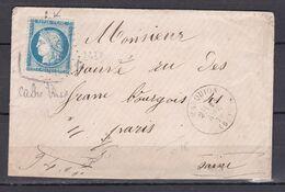 D200 / LOT CERES N° 60 SUR LETTRE / VARIETE FILET GAUCHE ET BAS - 1871-1875 Cérès