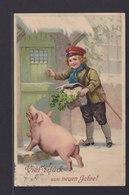 Ansichtskarte Neujahrsgruß Glückskarte Mit Junge Und Glücksschwein Ab  - Neujahr