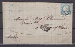 D200 / LOT CERES N° 60 SUR LETTRE / VARIETE COIN HAUT DROIT - 1871-1875 Cérès
