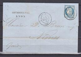 D200 / LOT CERES N° 60 SUR LETTRE / VARIETE TRAIT MEDAILLON - 1871-1875 Cérès