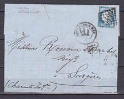 D200 / LOT CERES N° 60 SUR LETTRE / VARIETE POINT BLANC COTE DROIT - 1871-1875 Cérès