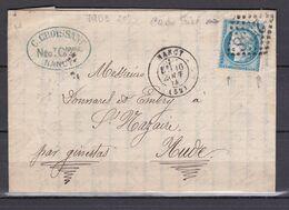 D200 / LOT CERES N° 60 SUR LETTRE / VARIETE FILET HAUT / C DE 25C - 1871-1875 Cérès