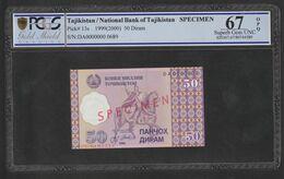 Tajikistan 50 Diram 1999 Specimen PCGS 67OPQ - Tadzjikistan