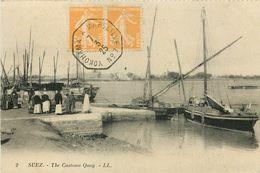 Egypte - Egypt - Suez - The Customs Quay - Marcophilie - Philathélie - Cachet Yokohama à Marseille N° 7 - Bateaux - état - Suez