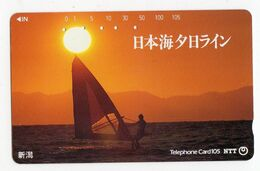 TELECARTE JAPON PLANCHE A VOILE COUCHER De SOLEIL - Sport