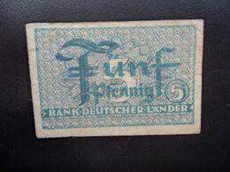 RÉPUBLIQUE FÉDÉRALE ALLEMANDE * : 5 PFENNIG  ND 1948    CA 250b**/ P 11a       TTB - [ 7] 1949-… : RFD - Rep. Fed. Duitsland