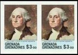 GRENADA GRENADINES 1981 Paintings Washington Gilbert Stuart $3.00 IMPERF.PAIR USA-related - George Washington