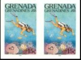 GRENADA GRENADINES 1985 Water Sports Scuba Diving 15c IMPERF.PAIR - Tauchen