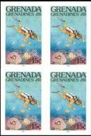 GRENADA GRENADINES 1985 Water Sports Scuba Diving 15c IMPERF.4-BLOCK - Tauchen
