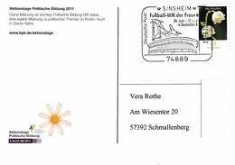 Germany 2011 Card: Football Soccer Calcio Fussball: FIFA Women World CUP; Sinsheim Rhein-Neckar-Arena Stadium; Airplane - Other