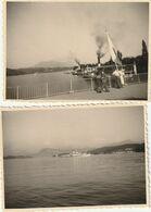 Lot De 2 Photos 100 Mm X 73 Mm - Années 50 - Lucerne Suisse - L'embarcadère - Scan R/V - Places