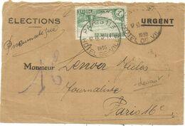 N°301 SEUL DEVANT ENTETE ELECTION URGENT PARIS 113 27.IV .1935 PNEUMATIQUE AU TARIF - Marcofilia (sobres)
