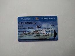 China Cruise Cards, (1pcs) - Cartas De Hotels
